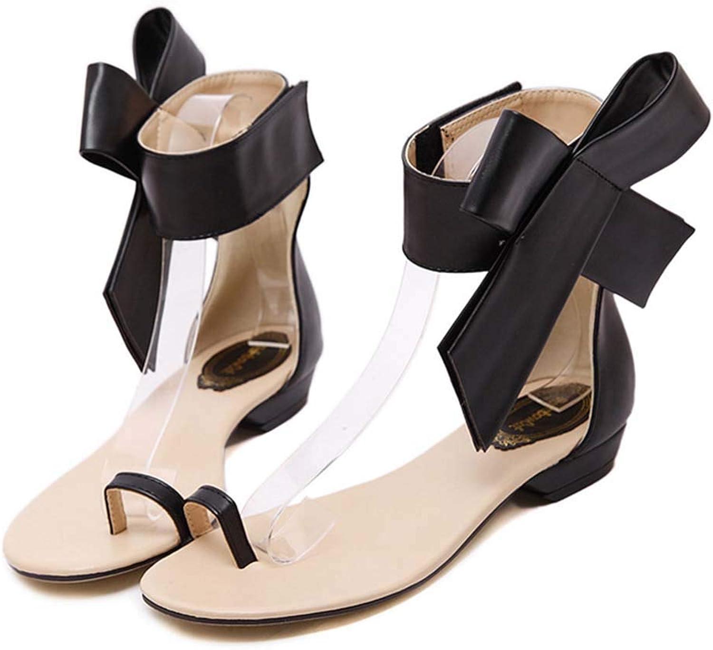 Ladies Sandals Artificial PU Toe Flat shoes Bow Velcro Sandals for Women