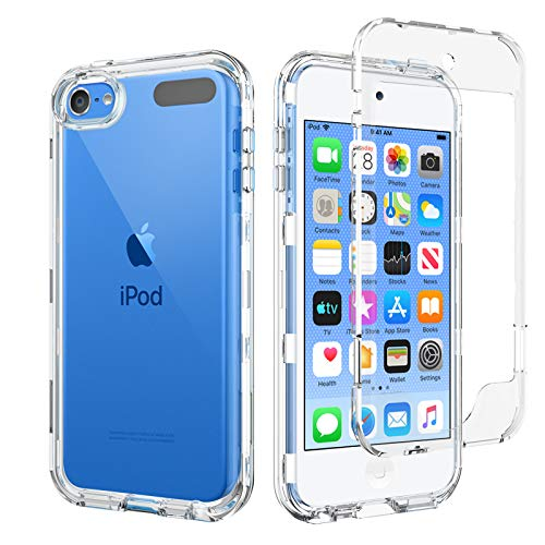 BENTOBEN iPod Touch 7 Case, iPod Touch 6 Case, iPod Touch 5 Case, 3 in 1 Hybrid Crystal Clear Transparent Heavy Duty Rugged Shockproof Protective Cases for iPod Touch 7th/6th/5th Generation, Clear