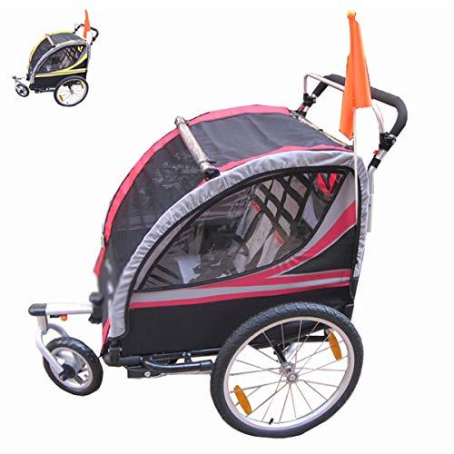 OLMME Kinder Fahrradanhänger 2 in 1 Kinder Jogger Kinderwagen 2 Sitze Faltbarer Kinderanhänger Transport Buggy Aluminiumlegierung Rahmen Rot/Gelb(Color:rot)