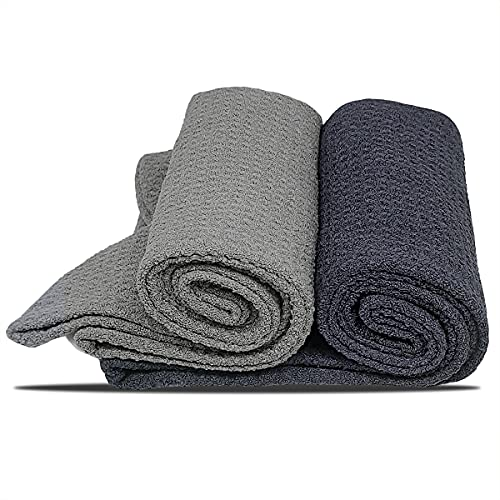 Super Absorbent Hair Towel Wrap for Women,Waffle Weave Quick Drying Towel Turban for Wet Hair(2 Pack,Dark Grey,Light Grey)
