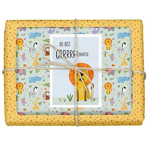 dabelino Papel de regalo para recién nacido con diseño de animales de safari/zoo/jungla, juego de 4 hojas + 1 tarjeta (papel reciclado, cumpleaños, niña, niño, león, sostenible)