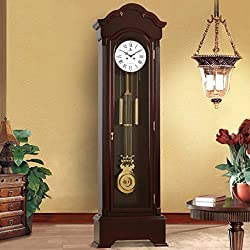 HLDBW Antique Table Solid Wood Clock with Brass Pendulum Arabic Numeral Roman Numeral Dial Desk & Shelf Clocks Living Room Large Floor Clock (Color : Roman Numeral dial)