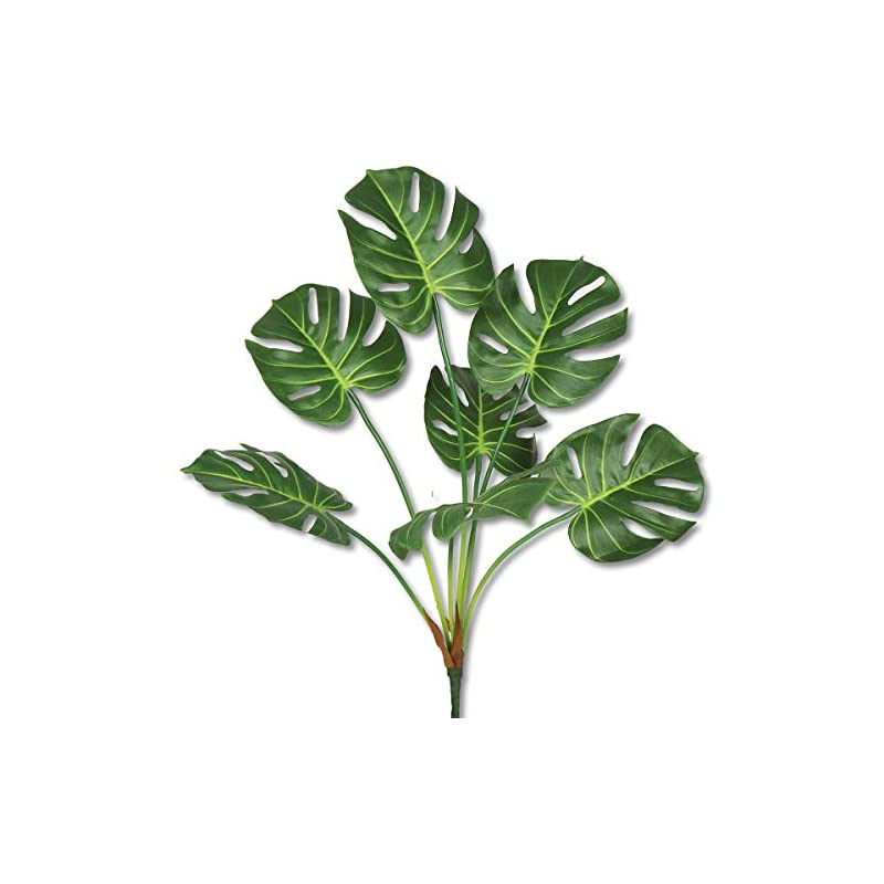 silk flower arrangements artificial banana tree leaves tropical plant faux leaf fake palm frond plants greenery flowers silk bird of paradise palm plant for indoor outdoor house office modern decoration (turtle leaf, 1 pack)