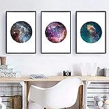 zszy Moderne Astronomie Galaxy Leinwand Kunstdruck und Poster Wanddekoration, Set von DREI Galaxy Space Leinwand Gemälde Wandkunst Bild-30x40cmx3 Stück ohne Rahmen