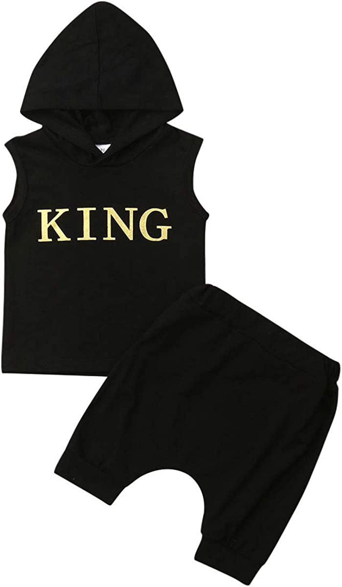 Newborn Baby Boy Girl Sleeveless Hooded Top T-Shirt+Short Pants Toddler Boy Girl Clothes Tracksuit Outfit (Black, 2-3t)