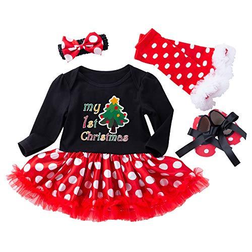 Disfraz de primera Navidad para bebé, con diadema, zapatos y calentadores de piernas, juego de 4 piezas, diseño de lunares
