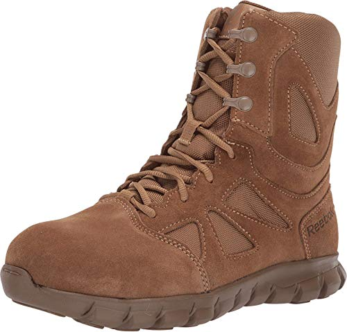 """Reebok Work Men's Sublite Cushion Safety Toe 8"""" Tactical Boot with Side Zipper, Coyote, 10"""