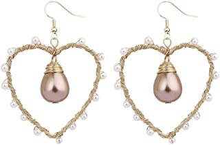 Loveliome Pearl Earrings for Women, Handmade Dangle Drop Hoop Earrings Copper Wire Earrings,