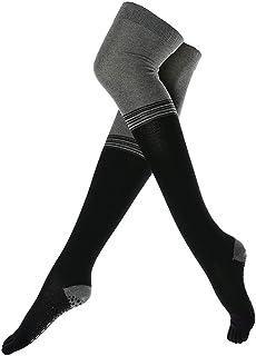 Thigh High Yoga Socks for Women - Non Slip Full Toe Grip Socks for Pilates, Barre, Dance