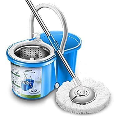Aootek Upgraded Stainless Steel Deluxe 360 Spin Mop & Bucket Floor Cleaning System Included EasyPress Handle with 2 Microfiber Mop Heads (1pack)