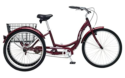 Schwinn Meridian Adult Tricycle with 26-Inch Wheels in Maroon, with Low Step-Through Aluminum Frame, Front and Rear Fenders, Adjustable Handlebars, Large Cruiser Seat, and Rear Folding Basket