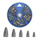 Croch 35pcs Fishing Bullet Weights Kit Worm Fishing Sinker Weights for Bass Fishing Pitching and Flipping, Fishing Bullet Weights 5 Sizes,1/16oz 1/8oz 3/16oz 1/4oz 3/8oz
