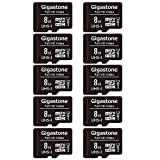 Gigastone Paquete de 10 tarjetas Micro SD de 8 GB, vídeo Full HD, cámara de seguridad de vigilancia Drone, 80 MB/s Micro SDHC UHS-I U1 C10 Clase 10