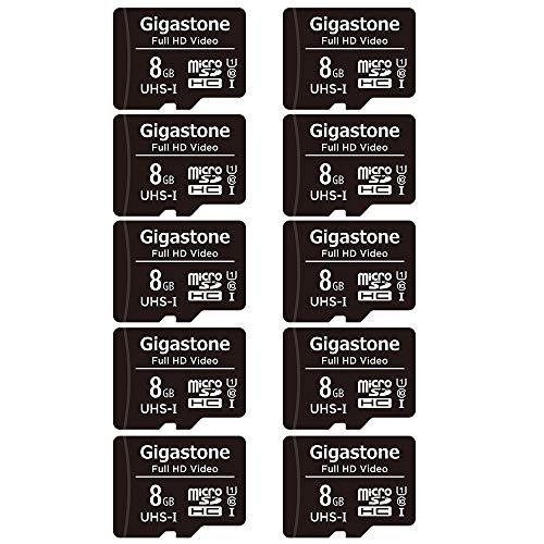 Gigastone 8GB MicroSDHC Speicherkarte 10er-Pack + SD Adapter, für Action-Kamera, GoPro, Drohne und Tablet, Lesegeschwindigkeit bis zu 80MB/s, Full HD-Videoaufnahme, Micro SD Karte UHS-I Klasse 10 U1