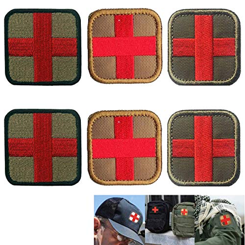 Osuter 6PCS Rotes Kreuz Patch Klett Bestickter Aufnäher Klein Medic Patch Klein für Rucksäcke und Taktische Taschen Hut