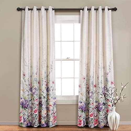 """MYSKY HOME Floral Blackout Curtain 84 Inch Length,Grommet Thermal Insulated Room Darkening Curtain Linen Weaving Textured Curtain Panel for Bedroom,Living Room,52"""" x 84"""",Purple,1 Panel"""