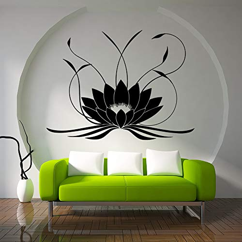 LSMYE 3d Mandala Lotus Wandaufkleber PVC Abnehmbare Yoga Wandtattoos Aufkleber Schlafzimmer Wohnzimmer Home Decoration Wandbild Lila M 43cm X 58cm