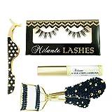 Milanté BEAUTY Luscious False Lashes Black Natural Thick Long Full Reusable, Lash Applicator, Eyelash curler and Latex Free Glue Adhesive Set Starter Kit