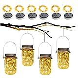 Babitotto - Juego de 6 guirnaldas de luces LED solares de colores para jardín, patio, fiesta, boda, Navidad, decoración