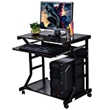 Officejoy Computer Desk Cart Home Office Desk, Mobile Laptop Table Workstation Writing Desk Study Desk with Keyboard Tray, Printer Shelf on Wheels