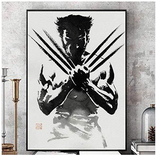 Wolverine Black and White Comic Wandkunst Leinwand Malerei Poster Für Wohnkultur Poster Und Drucke Ungerahmt Dekorative Bilder-50x70 cm Kein Rahmen
