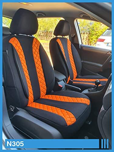Maß Sitzbezüge kompatibel mit Kia Sportage 3 SL Fahrer & Beifahrer ab 2010-2015 FB:N305 (Schwarz Orange)