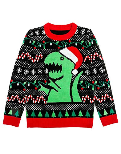 Shirtgeil Maglione di Natale Ugly Christmas Dinosauro T-Rex Neon Uomo Donna Pullover Brutto Natalizio Small