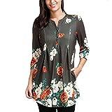 MORCHAN Femmes Dames Trois Quarts Manches Impression Casual Tops T-Shirt lâche Top Blouse(FR-/CN-XL,Vert)