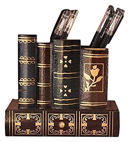 1 unids Retro Soporte de pluma de madera Caja de almacenamiento de escritorio multifuncional Adecuado para almacenar papelería Pincel de maquillaje Varios Gadgets cubilete portalapices TSYGHP