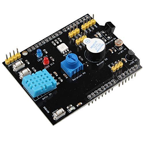 HALJIA Placa de expansión 9 en 1 multifunción con sensor de humedad 11 y zumbador con sensor de temperatura LM35 compatible con Arduino UNO R3