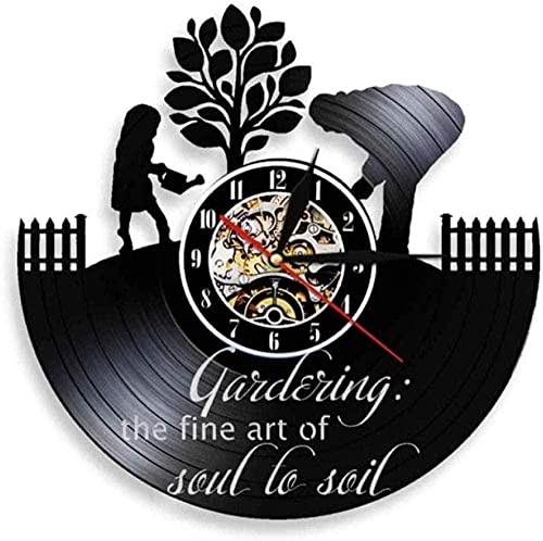 BBZZL Reloj de Pared de Vinilo Soul Exquisite Art Garden Cita Reloj de Pared de Cocina Estilo de Granja Descubrimiento Cultural Jardín Disco de Vinilo Reloj de Pared 30cm