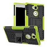 LFDZ Sony Xperia L2 Tasche, Hülle Abdeckung Cover schutzhülle Tough Strong Rugged Shock Proof Heavy Duty Hülle Für Sony Xperia L2 Smartphone (mit 4in1 Geschenk verpackt),Grüne