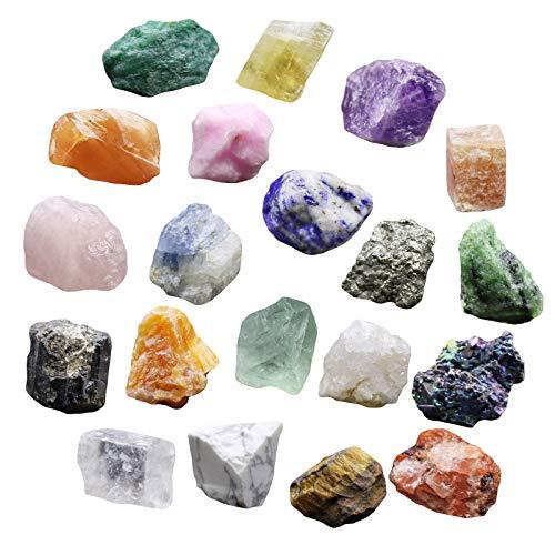 iFCOW 20 piezas de minerales de la colección de piedras minerales, educación, geología, cristales de energía, especímenes minerales naturales