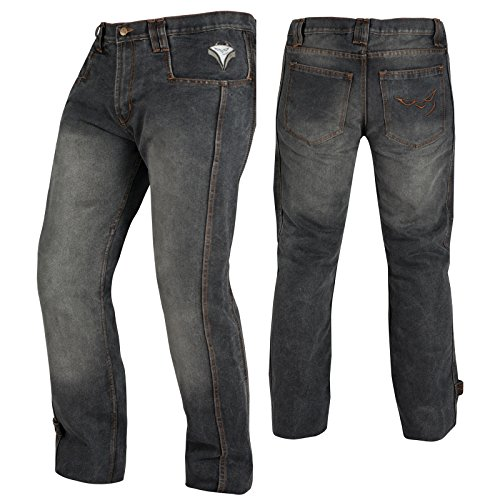 A-pro Pantalones Vaqueros CE Protectores para Moto, Color Negro, Talla 34