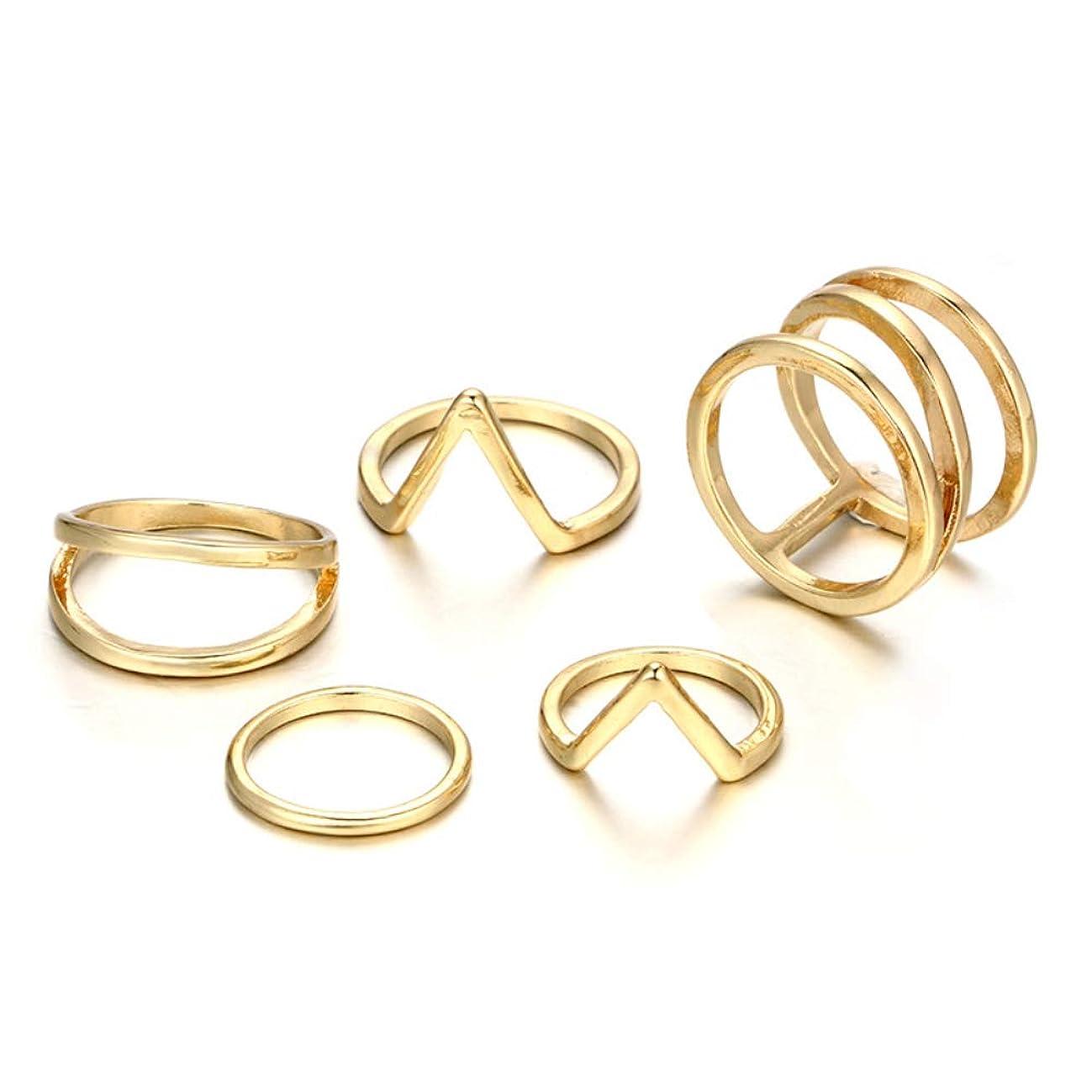 POYDORA Vintage Gold Bohemian Stack Rings V Rhinestone Joint Rings Knuckle Nail Ring Set for Women Girls (5 PCS)