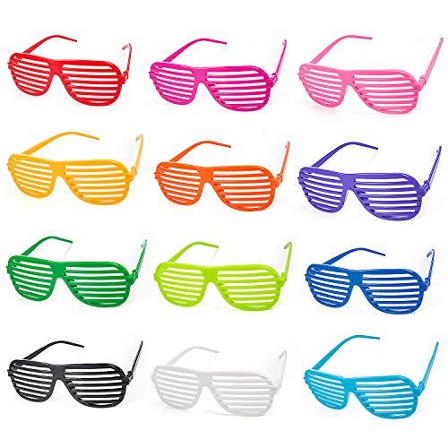 ZWOOS 12 Pack Partybrille, Unisex Mode Shutter Shades Brille Gläser Sonnenbrille Kinder Erwachsene, Party Kostüme Club Tanz Props Zubehör Sommer Kindergeburtstag Gast-Geschenke