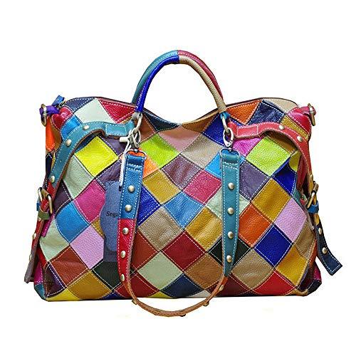 Segater® Damen Multicolor Einkaufstasche Rind Leder-Handtaschen Bunte Patchwork 2019 NEU TOP Bewertet Große Umhängetasche Hobo Taschen