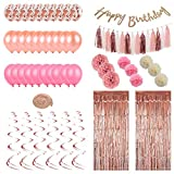 Rose Gold Birthday Party Decorations Kit,49 Pcs of Rose Gold Theme Birthday Curtain Backdrop Decorations Pack Easy to Assemble and Reusable for Kids and Adults Birthday Supplies