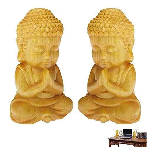 GZcaiyun - 2 figuras de Buda talladas a mano de madera para meditación para decoración del hogar, coche, decoración de mesa (color madera)