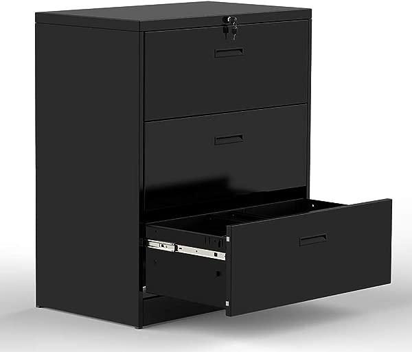 3 个抽屉横向文件柜可上锁重型文件柜钢结构黑色黑色