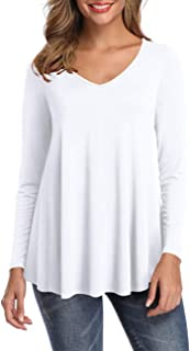 Womens Tunic Tops Long Sleeve V Neck Shirts Solid Loose Flare Tops Tee