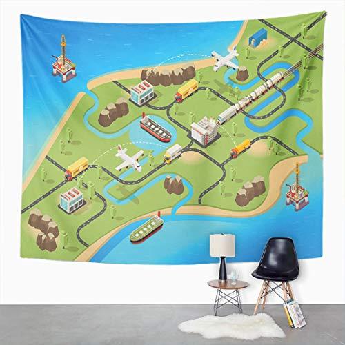 Y·JIANG Tapiz de mapa logístico, aviones de logística global, camiones de tren, hogar, dormitorio, tapiz grande, manta para colgar en la pared ancha para sala de estar, dormitorio, 152,4 x 127 cm
