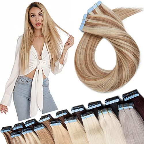 SEGO Extension Biadesivo Capelli Veri Adesive Tape Biadesive in Hair Biadesivi 40 Fasce 100% Remy Human Hair Balayage 100g (50cm, 12P613 Marrone Oro/Biondo Chiarissimo)