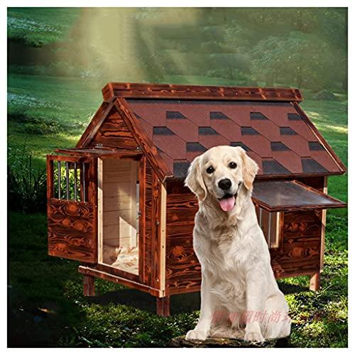 TYX Casetas Perros Exteriores Madera Carbonizada, Casa para Perros Casetas Perros, Refugio Perros Jaula Perros con Ventanas Puertas...