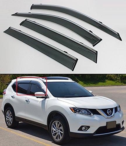 Cuztom Tuning Clip-on Type Smoke Window Visor Rain Guard W/Chrome Trim for 2014-2020 Nissan Rogue S SV (Not Fits Rogue Sport)