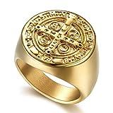pioneer clan anello con con sigillo di croce di san benedetto, per esorcismo, da uomo, in acciaio inossidabile placcato oro e acciaio al titanio, 56 (17.8), cod. bible