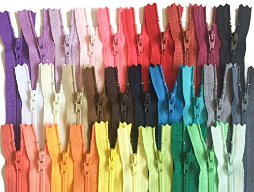 YKK Zippers Assorted Colors Pack 12 Inch Number 3 Nylon Coil Set of 30 Pieces