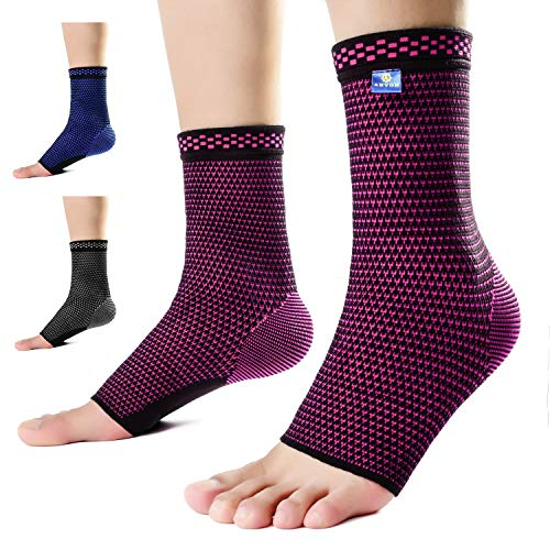 Ankle Compression Sleeve Socks (Pair) Made from Breathable and Sweat-Absorbing Elastic Blend for Plantar Fasciitis Pain Relief and Achilles Tendonitis Treatment.Foot Support for Reduce Swelling Recovery Ankle Pain,Ankle Brace for Men&Women