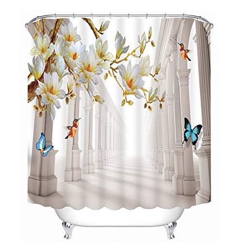 MAOYYM2 Gedruckt Luxus Orchidee Pfingstrose Blume Löwenzahn Stoff Badezimmer Wasserdicht Duschvorhänge
