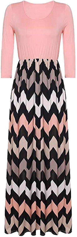 Bixiangjim_Clothes Womens Striped Long Boho Dress Lady Beach Summer Sundrss Maxi Dress